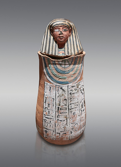 Ancient Egyptian Human headed canopic jar for Amenemheb, clay, New Kingdom, 19th Dynasty (1292-1190 BC), Deir el-Medina. Egyptian Museum, Turin. Old Fund cat 3471. Grey background.<br /> <br /> The canopic jars were four in number, each for the safekeeping of particular human organs: the stomach, intestines, lungs, and liver, all of which, it was believed, would be needed in the afterlife. By the First Intermediate Period jars with human heads (assumed to represent the dead) began to appear