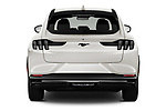Straight rear view of 2021 Ford Mustang-Mach-E - 5 Door SUV Rear View  stock images