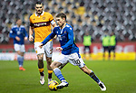 Motherwell v St Johnstone…20.02.21   Fir Park   SPFL<br />David Wotherspoon goes by Tony Watt<br />Picture by Graeme Hart.<br />Copyright Perthshire Picture Agency<br />Tel: 01738 623350  Mobile: 07990 594431