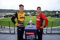 Mens' captains Michael Bracewell (Wellington) and Cole McConchie (Canterbury, right). 2021 Super Smash Wellington v Canterbury Men's and Women's Double-Header captains call at the Basin Reserve in Wellington, New Zealand on Friday, 12 February 2021. Photo: Dave Lintott / lintottphoto.co.nz
