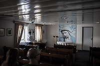 A chapel dedicated to the Virgin Mary  on a ferry boat heading to Split, Croatia.