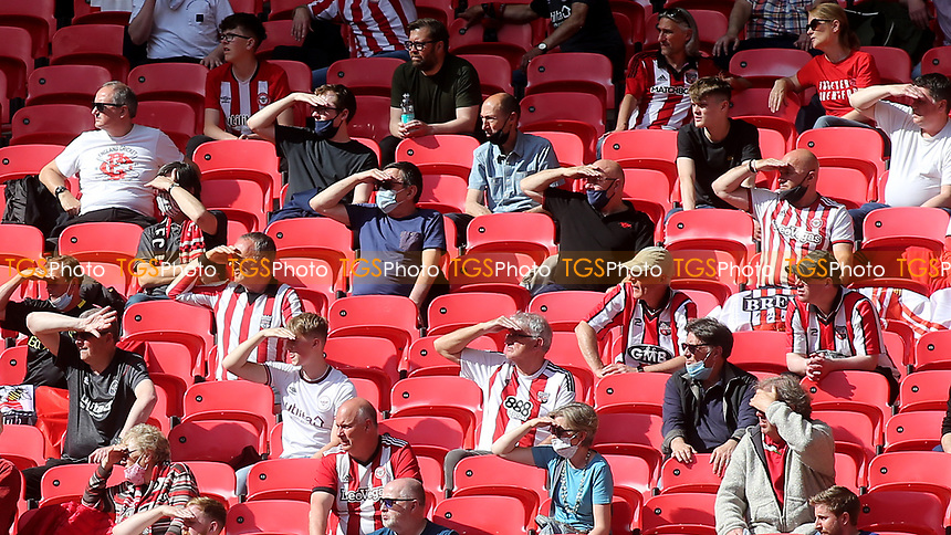Brentford fans look ahead to next season and promotion to the Premier League during Brentford vs Swansea City, Sky Bet EFL Championship Play-Off Final Football at Wembley Stadium on 29th May 2021
