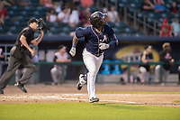 Northwest Arkansas Naturals outfielder D.J. Burt (1) runs to first during a Texas League game between the Northwest Arkansas Naturals and the Arkansas Travelers on May 30, 2019 at Arvest Ballpark in Springdale, Arkansas. (Jason Ivester/Four Seam Images)