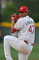 Starting pitcher Daniel Gonzalez (47) of the Greenville Drive delivers a pitch in a game against the Columbia Fireflies on Thursday, April 21, 2016, at Fluor Field at the West End in Greenville, South Carolina. Columbia won, 13-9. (Tom Priddy/Four Seam Images)