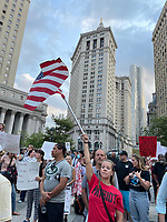 NEW YORK, NY- SEPTEMBER 13: View of the Great American Walkout No Mandates No Passports Rally at Foley Square in New York City on September 13, 2021.  <br /> CAP/MPI/RMP<br /> ©RMP/MPI/Capital Pictures
