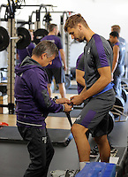 Pictured L-R: Claudio Bordon helps Fernando Llorente in the gym Wednesday 14 September 2016<br />Re: Swansea City FC training at Fairwood, Wales, UK