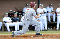 Center fielder John Menken (9) of the Winthrop University Eagles bats in a game against the University of South Carolina Upstate Spartans on Wednesday, March 4, 2015, at Cleveland S. Harley Park in Spartanburg, South Carolina. Upstate won, 12-3. (Tom Priddy/Four Seam Images)