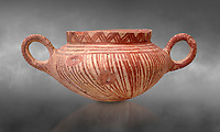 Very early Minoan rounded 2 handled pot with white and red linear motifs,  vaulted tombs Lebena 3000-2100 BC BC, Heraklion Archaeological  Museum, grey background.<br /> <br /> Made of grey clay these pots are the earliest found in the Lebena vaulted tombs