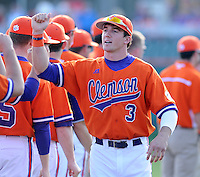 Outfielder Brad Felder (3) of the Clemson Tigers is introduced before a game against the University of Alabama-Birmingham on Feb. 17, 2012, at Doug Kingsmore Stadium in Clemson, South Carolina. (Tom Priddy/Four Seam Images)