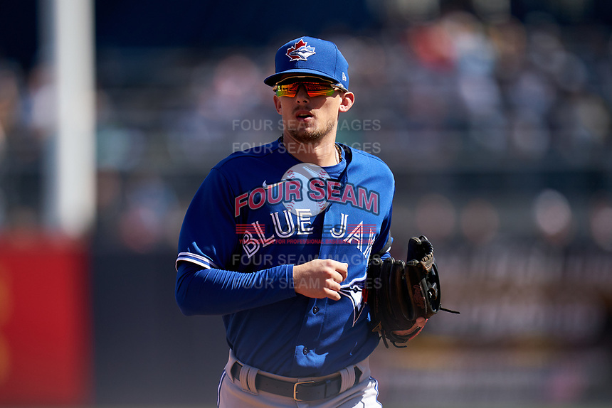 Toronto Blue Jays Cavan Biggio (8) jogs to the dugout during a Spring Training game against the New York Yankees on February 22, 2020 at the George M. Steinbrenner Field in Tampa, Florida.  (Mike Janes/Four Seam Images)