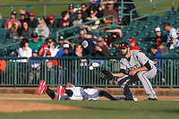 Yale Rosen (28) of the Lake Elsinore Storm takes a throw at first base during a game against the Lancaster JetHawks at The Hanger on May 9, 2015 in Lancaster, California. Lancaster defeated Lake Elsinore, 3-1. (Larry Goren/Four Seam Images)