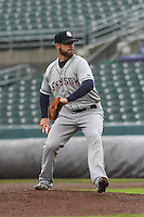 Colorado Springs Sky Sox pitcher Damien Magnifico (33) delivers a pitch during a Pacific Coast League game against the Iowa Cubs on May 1st, 2016 at Principal Park in Des Moines, Iowa.  Colorado Springs defeated Iowa 4-3. (Brad Krause/Four Seam Images)