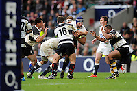 Josh Beaumont of England is stopped by Deon Fourie of Barbarians during the match between England and Barbarians at Twickenham Stadium on Sunday 31st May 2015 (Photo by Rob Munro)