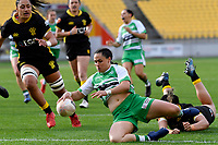 Janna Michal Vaughan of the Manawatu  runs in to score a try during the Farah Palmer Cup Rugby – Wellington v Manawatu at Sky Stadium, Wellington, New Zealand on Friday 25 September 2020. <br /> Photo by Masanori Udagawa. <br /> www.photowellington.photoshelter.com