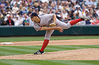 July 23, 2008: The Boston Red Sox's Justin Masterson toes the rubber against the Seattle Mariners at Safeco Field in Seattle, Washington.