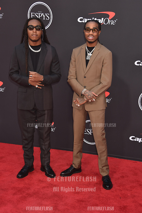 LOS ANGELES, USA. July 10, 2019: Takeoff & Quavo of Migos at the 2019 ESPY Awards at the Microsoft Theatre LA Live.<br /> Picture: Paul Smith/Featureflash