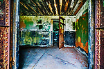 Munition store rooms, abandoned military gunnery bunkers at Fort Worden State Park, Port Townsend, WA.  Cubist, abstract, representaional.