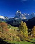 Italy, South Tyrol, Alto Adige, Dolomites, Val Gardena: St. Jacob (district of Ortisei) with Sasso Lungo and Sella Group mountain range
