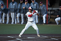 Jeremy Whitehead (8) of the North Greenville Crusaders at bat against the Bellarmine Knights at Ashmore Park on February 7, 2020 in Tigerville, South Carolina. The Crusaders defeated the Knights 10-2. (Brian Westerholt/Four Seam Images)
