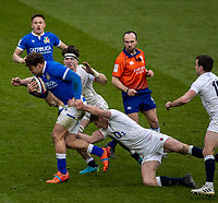13th February 2021; Twickenham, London, England; International Rugby, Six Nations, England versus Italy; Tom Curry of England makes a tackle