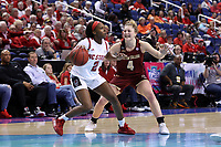 GREENSBORO, NC - MARCH 07: Kaila Ealey #2 of North Carolina State University is defended by Taylor Ortlepp #4 of Boston College during a game between Boston College and NC State at Greensboro Coliseum on March 07, 2020 in Greensboro, North Carolina.