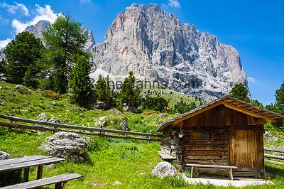 Italy, South Tyrol (Trentino - Alto Adige), Dolomites, near Selva di Val Gardena: hut and Sasso Lungo mountain at Sella Pass Road   Italien, Suedtirol (Trentino - Alto Adige), oberhalb von Wolkenstein in Groeden: Huette vorm Langkofel an der Sella-Joch-Passstrasse