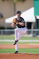 GCL Marlins starting pitcher Josh Roberson (21) delivers a pitch during a game against the GCL Cardinals on August 4, 2018 at Roger Dean Chevrolet Stadium in Jupiter, Florida.  GCL Marlins defeated GCL Cardinals 6-3.  (Mike Janes/Four Seam Images)
