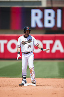 Sacramento RiverCats center fielder Steven Duggar (14) asks for time after hitting a double during a Pacific Coast League against the Tacoma Rainiers at Raley Field on May 15, 2018 in Sacramento, California. Tacoma defeated Sacramento 8-5. (Zachary Lucy/Four Seam Images)