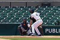 Lakeland Flying Tigers Eric De La Rosa (4) bats in front of catcher Carlos Narvaez (5) during a game against the Tampa Tarpons on May 16, 2021 at Joker Marchant Stadium in Lakeland, Florida.  (Mike Janes/Four Seam Images)