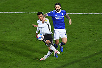 Morgan Whittaker of Swansea City has a shot during the Sky Bet Championship match between Swansea City and Cardiff City at the Liberty Stadium in Swansea, Wales, UK. Saturday 20 March 2021