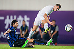 (R) Denis Cheryshev of Real Madrid CF competes for the ball with (L) Andrea Ranocchia of FC Internazionale Milano during the FC Internazionale Milano vs Real Madrid  as part of the International Champions Cup 2015 at the Tianhe Sports Centre on 27 July 2015 in Guangzhou, China. Photo by Aitor Alcalde / Power Sport Images