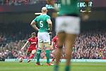 Wales fullback Leigh Halfpenny kicks a penalty goal.<br /> RBS 6 Nations<br /> Wales v Ireland<br /> Millennium Stadium<br /> 14.03.15<br /> ©Steve Pope - SPORTINGWALES