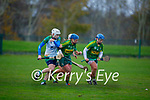 Kerrys Patrice Diggins and Jackie Horgan tussle with Meaths Aoife Maguire for possession, in the Camogie Intermediate Championship
