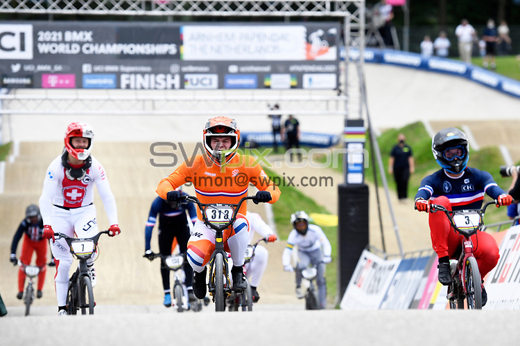 Picture by Will Palmer/SWpix.com - 22/08/2021 - Cycling - UCI BMX World Championships 2021 - Papendal National Sports Centre, Arnhem, Netherlands - Niek Kimmann of the Netherlands celebrates winning Gold in the Elite Men's final.