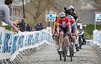 "Kasper Asgreen (DEN/Deceuninck - Quick Step) leading the ""BIG 2"" (Wout & Mathieu) for a final ascent up the Oude Kwaremont<br /> <br /> 105th Ronde van Vlaanderen 2021 (MEN1.UWT)<br /> <br /> 1 day race from Antwerp to Oudenaarde (BEL/264km) <br /> <br /> ©kramon"
