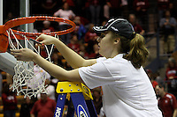 BERKELEY, CA - MARCH 30: Kayla Pedersen cuts down the net following Stanford's 74-53 win against the Iowa State Cyclones on March 30, 2009 at Haas Pavilion in Berkeley, California.