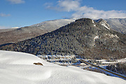 Franconia Notch State Park from Artists Bluff in the White Mountains, New Hampshire.
