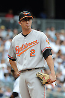 Baltimore Orioles short stop J.J. Hardy #2 during game against the New York Yankees at Yankee Stadium on September 5, 2011 in Bronx, NY.  Yankees defeated Orioles 11-10.  Tomasso DeRosa/Four Seam Images