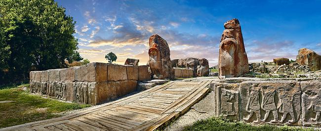 Picture of the Sphinx gate Hittite sculpture, Alaca Hoyuk (Alacahoyuk) Hittite archaeological site Alaca, Corum Province, Turkey,