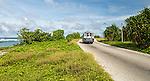 Local bus alone the coastal road on the island of Nauru