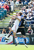 April 11, 2009:  Brian McBride of Fire and Ryan Cochrane of Earthquakes in action at Buck Shaw Stadium in Santa Clara, California. San Jose Earthquakes and Chicago Fire tied, 3-3