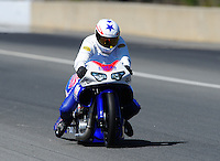 Mar. 12, 2011; Gainesville, FL, USA; NHRA pro stock motorcycle rider Hector Arana Jr during qualifying for the Gatornationals at Gainesville Raceway. Mandatory Credit: Mark J. Rebilas-.