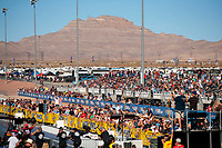 Nov 2, 2019; Las Vegas, NV, USA; Overall view of the fans in the crowd at The Strip at Las Vegas Motor Speedway during NHRA qualifying for the Dodge Nationals. Mandatory Credit: Mark J. Rebilas-USA TODAY Sports