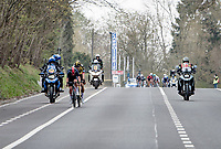 Tom Pidcock (GBR/Ineos Grenadiers) & Wout van Aert (BEL/Jumbo-Visma) crossing over to Matteo trentin up ahead (to form the final breakaway)<br /> <br /> 61st Brabantse Pijl 2021 (1.Pro)<br /> 1 day race from Leuven to Overijse (BEL/202km)<br /> <br /> ©kramon