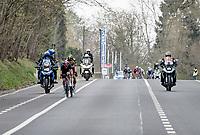 Tom Pidcock (GBR/Ineos Grenadiers) & Wout van Aert (BEL/Jumbo-Visma) crossing over to Matteo trentin up ahead (to form the final breakaway)<br /> <br /> 61st Brabantse Pijl 2021 (1.Pro)<br /> 1 day race from Leuven to Overijse (BEL/202km)<br /> <br /> ©kramon