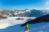 First turns from Pointe de la Terrasse, Switzerland, 24 June 2020.