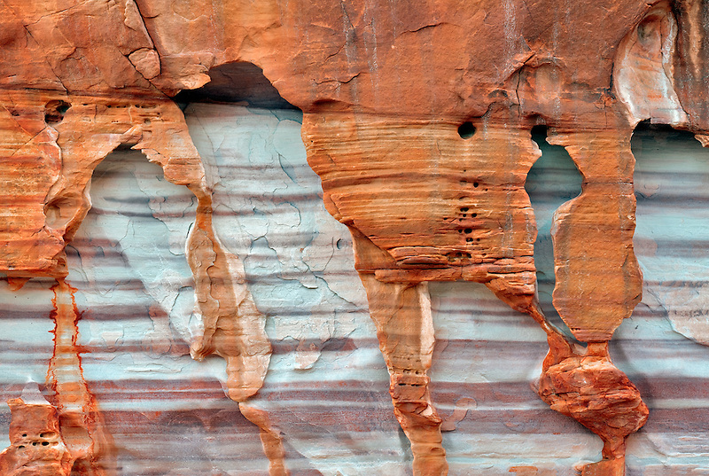 Cloe up of rock pattern in snadstone. Valley of Fire State Park, Nevada