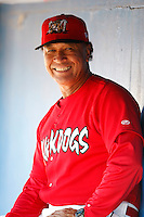 July 4, 2009:  Coach Ramon Ortiz of the Batavia Muckdogs in the dugout during a game at Dwyer Stadium in Batavia, NY.  The Muckdogs are the NY-Penn League Short-Season Class-A affiliate of the St. Louis Cardinals.  Photo By Mike Janes/Four Seam Images