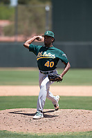 Oakland Athletics relief pitcher Miguel Sanchez (40) delivers a pitch during an Extended Spring Training game against the San Francisco Giants Orange at the Lew Wolff Training Complex on May 29, 2018 in Mesa, Arizona. (Zachary Lucy/Four Seam Images)