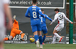 07.02.2021 Hamilton v Rangers: Ross Callachan slots the ball under Allan McGregor to score for Hamilton in the last minute